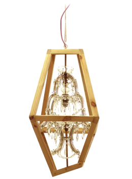 crystal chandelier is protected by a wood frame with diamond shape - Marcantonio design